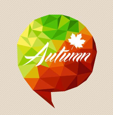 Autumn text and leaf over colorful season triangle social media bubble. Vector