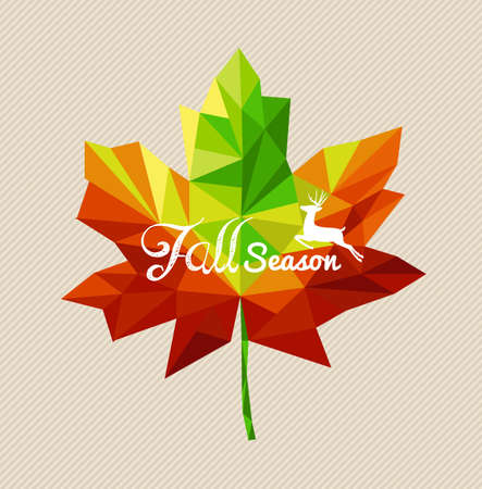 Fall season text and deer over colorful geometric leaf. Vector