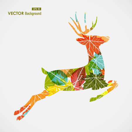Autumn season transparent leaves reindeer shape background.  Vector