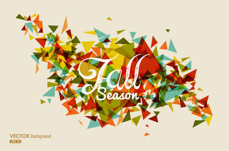 colorful background: Vintage Fall Season text over geometric composition. Abstract autumn background. Illustration