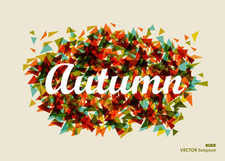 Vintage autumn text over geometric composition. Abstract Fall Season background. Vector