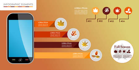 Autumn season infographic illustration template. Concept smart phone app with information graphics elements about weather and seasons related issues. Vector
