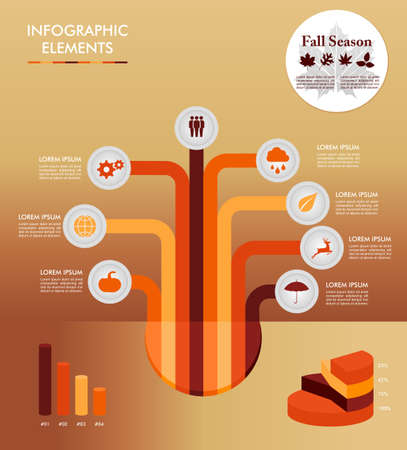 information society: Autumn season infographic illustration template. Concept tree with information graphics elements about weather and seasons related issues. Illustration