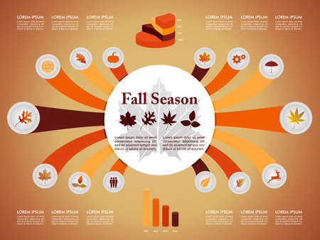 fall about: Fall season infographic illustration template. Autumn concept with information graphics elements about weather and seasons related issues.  Illustration
