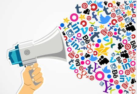 몬테비데오, 우루과이. -8 월 15 일 : 몬테비데오, 우루과이의 8 월 15 일 2013 년에 소셜 미디어 아이콘 스피커. 라틴 아메리카 인구의 약 60 %가 소셜 네트 에디토리얼