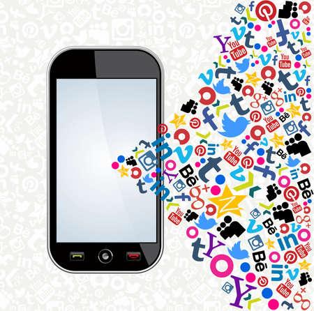 モンテビデオ、ウルグアイ。8 月 15 日: ソーシャル メディア アイコン モバイル イラスト 2013 年 8 月 15 日モンテビデオ、ウルグアイ。ラテン アメ