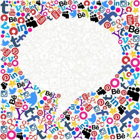MONTEVIDEO, URUGUAY. 15 de agosto 2013: Burbuja de los medios de comunicación social de 2013. Alrededor del 78% de los jóvenes uruguayos tienen problemas con las redes sociales de control, parte de una investigación realizada por la Universidad del Norte de Texas. Foto de archivo - 21838497