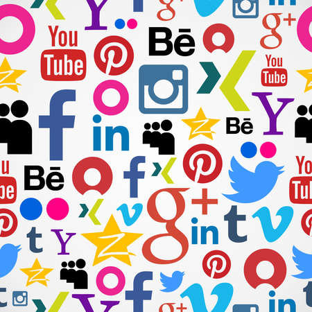 flickr: MONTEVIDEO, URUGUAY – AUGUST 15, 2013: Social media icons seamless pattern 2013. About 78% of young Uruguayans have problems with social media control. Study made by the North Texas University