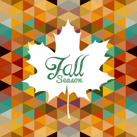 Vintage fall season composition. Leaf shape with text and abstract colorful geometric background.  Vector