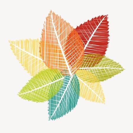 Bunte vintage Blätter Silhouetten. Herbst-Saison-Konzept Hintergrund.