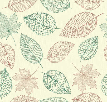 Hand drawn tree leaves seamless pattern  Vector