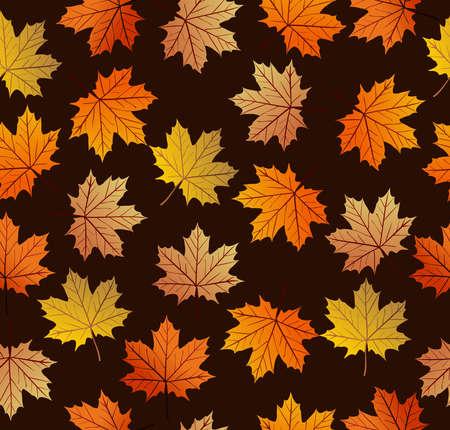 Vintage autumn maple tree leaves seamless pattern background