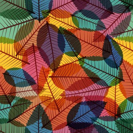빈티지가 투명 나무 원활한 패턴 배경 나뭇잎 일러스트