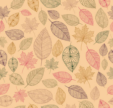 decorative wallpaper: Hand drawn tree leaves seamless pattern background.  Autumn season concept