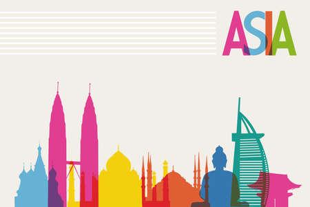 Diversiteit monumenten van Azië, beroemde bezienswaardigheid kleuren transparantie