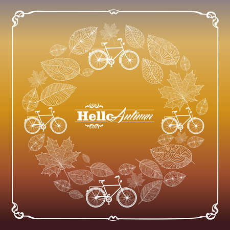Vintage hello autumn text with bicycles and hand drawn leaves in circle composition frame background Vector