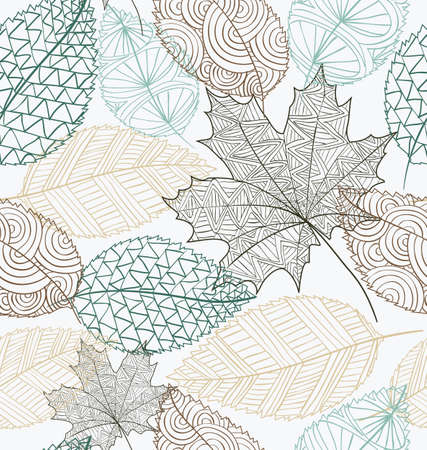 Hand drawn transparent autumn tree leaves seamless pattern background Vector