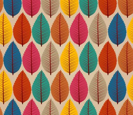 カラフルな秋の木の葉シームレス パターン背景