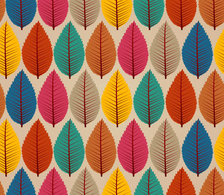 Colorful autumn tree leaves seamless pattern background