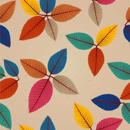 カラフルなビンテージ秋の木の葉のシームレスなパターン背景