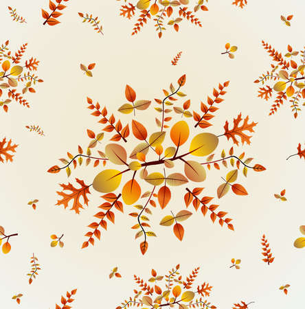 Fall bouquet and leaves seamless pattern background Vector