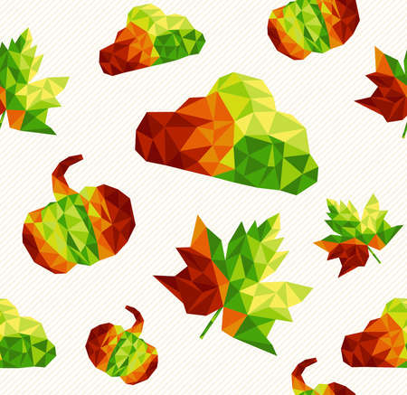 Abstract geometric autumn elements shapes seamless pattern background Vector