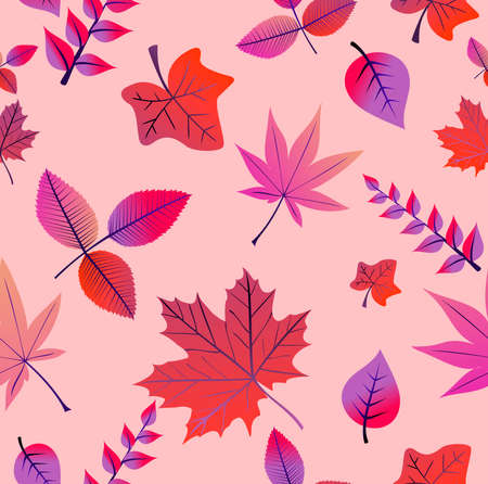 Colorful autumn tree leaves seamless pattern background Vector