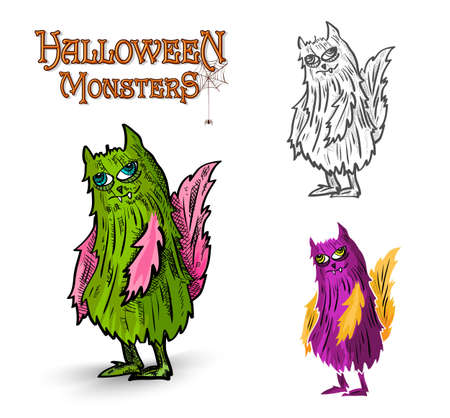 basic candy: Monstruos de Halloween extra�as criaturas espeluznantes establecen Vectores