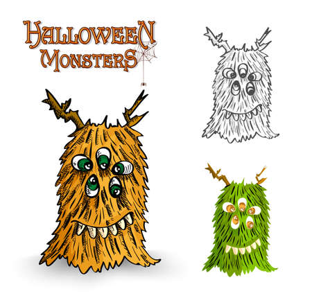 Halloween monsters spooky weird creatures set Vector