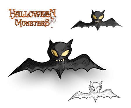 bloodsucker: Halloween monsters spooky vampire bats set Illustration