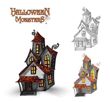 Halloween monsters spooky haunted houses set Vector