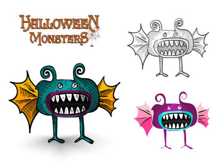 basic candy: Halloween Monsters spooky creatures set illustration