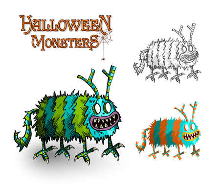 basic candy: Halloween Monsters spooky hand drawn creatures set