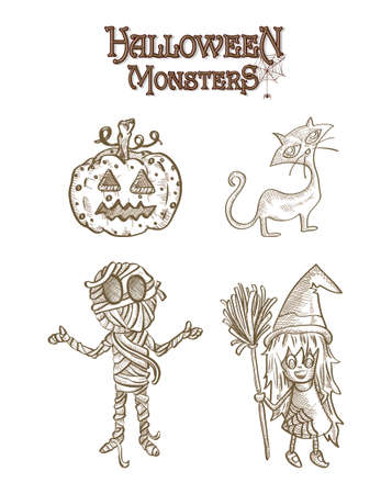 basic candy: Los monstruos de Halloween criaturas de dibujos animados fantasmal establecen Vectores