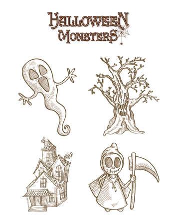 basic candy: Halloween Monsters spooky cartoon creatures set Illustration