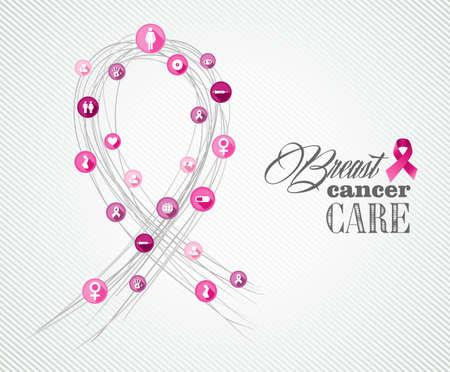 rak: Globalna współpraca świadomości raka piersi koncepcji ilustracji z ikon tworzących symbol wstążki