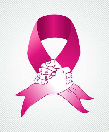 Global collaboration cancer awareness concept illustration