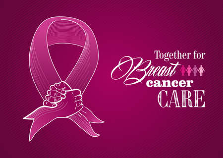 cancer awareness ribbon: Global collaboration breast cancer awareness concept illustration