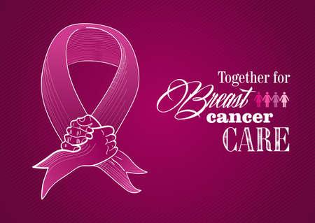 seni: Globale collaborazione Breast Cancer Awareness concetto illustrazione Vettoriali