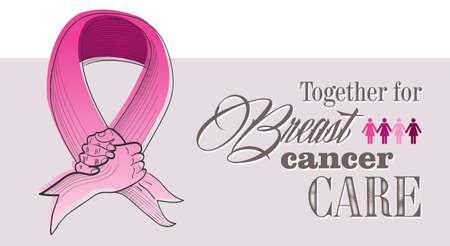 Wereldwijde samenwerking borstkanker bewustzijn concept illustratie