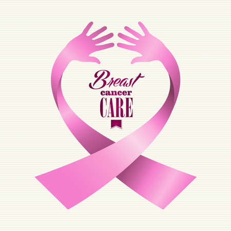Breast cancer awareness ribbon element text made with human hands