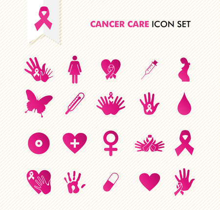 Breast cancer awareness ribbon symbol and health care elements icons set Illustration