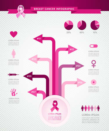 cancer awareness ribbon: Breast cancer awareness infographics ribbon symbol tree links information graphic icons template