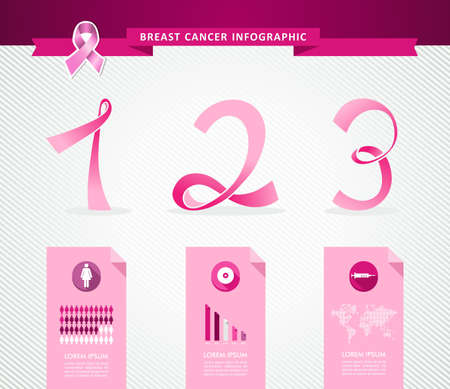 cancer ribbon: Breast cancer awareness concept Infographics template design