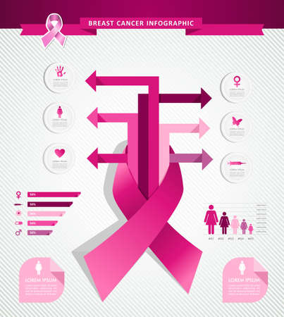 cancer ribbon: Breast cancer awareness concept arrows Infographics template design