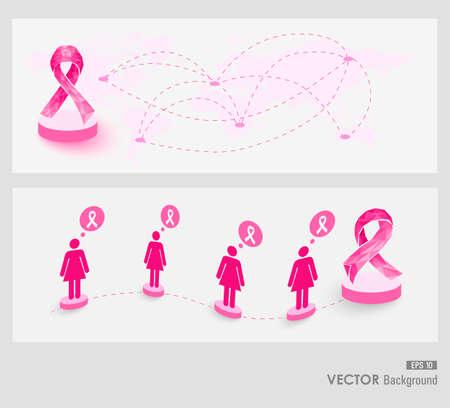 cancer symbol: Concepto global de colaboraci�n breast cancer awareness: Media Women conexi�n banners web social Vectores