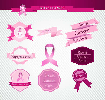breast cancer: Breast cancer awareness vintage ribbons and labels set