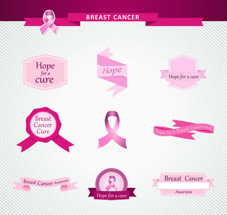 cancer woman: Global collaboration breast cancer awareness. Labels and tags set