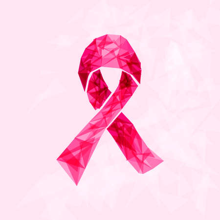 breast: Breast cancer awareness ribbon symbol made with transparent triangles over pink background Illustration