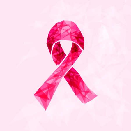 cancer de mama: Conciencia del cáncer de mama símbolo de la cinta hecha con triángulos transparentes sobre fondo de color rosa